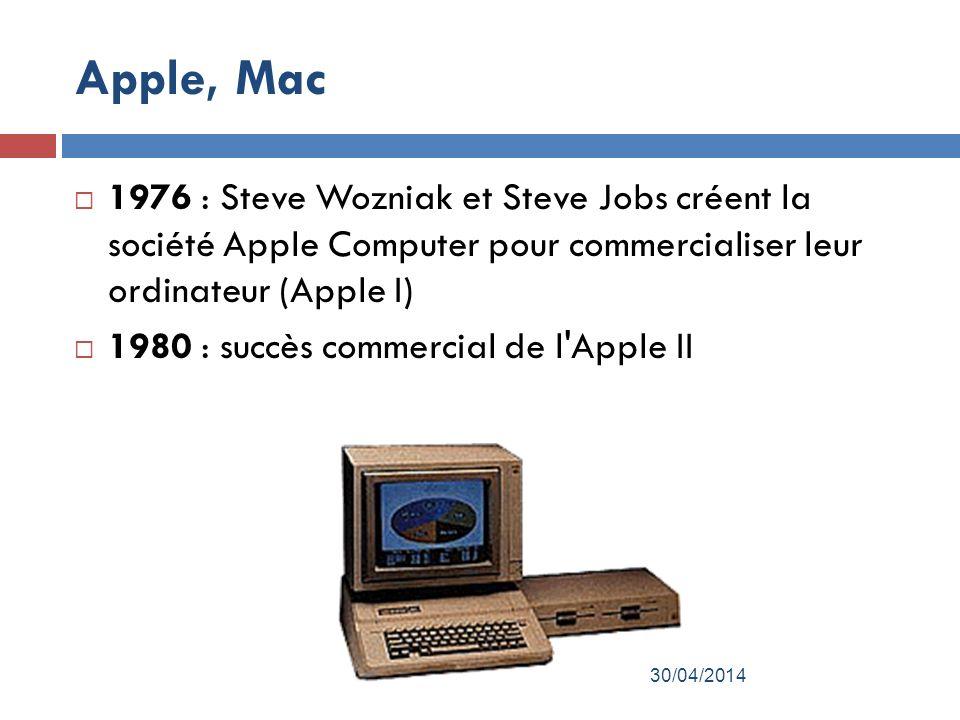Apple, Mac 1976 : Steve Wozniak et Steve Jobs créent la société Apple Computer pour commercialiser leur ordinateur (Apple I)