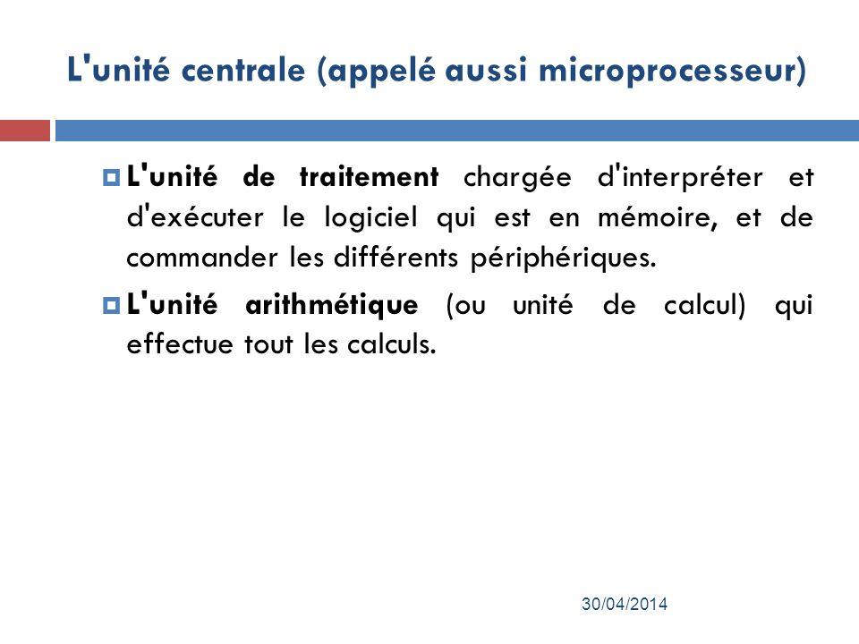 L unité centrale (appelé aussi microprocesseur)