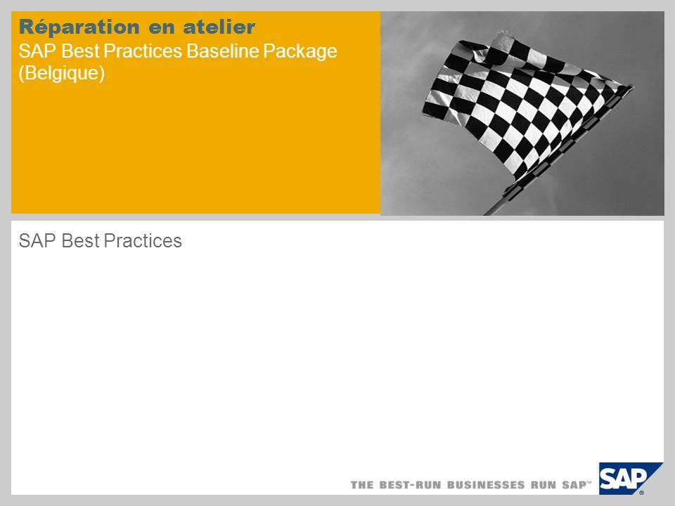 Réparation en atelier SAP Best Practices Baseline Package (Belgique)