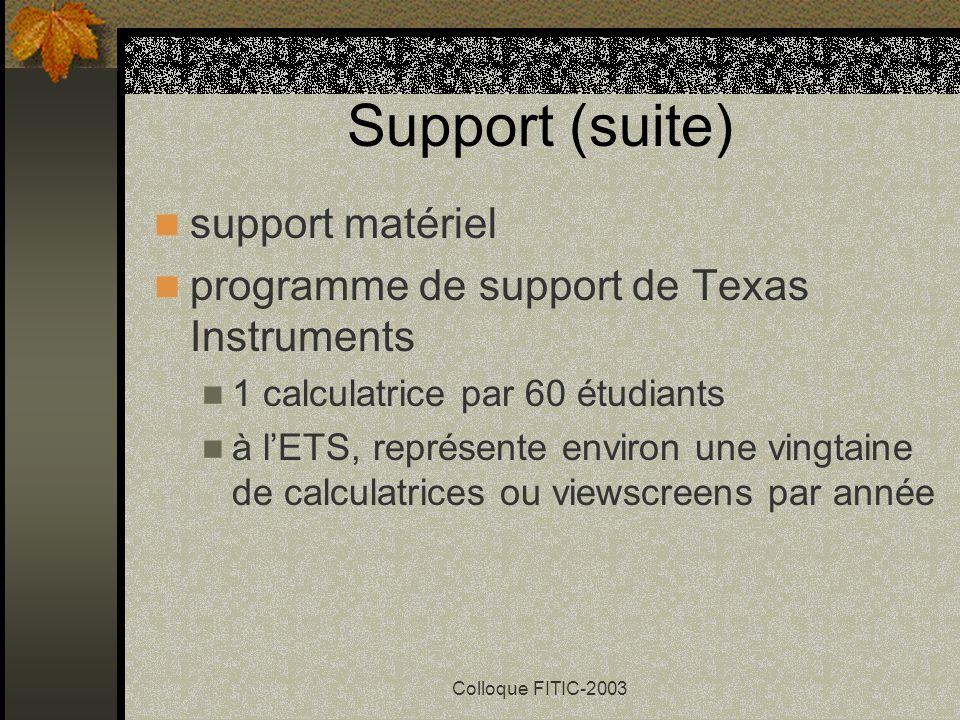 Support (suite) support matériel