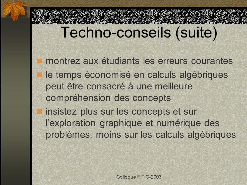 Techno-conseils (suite)