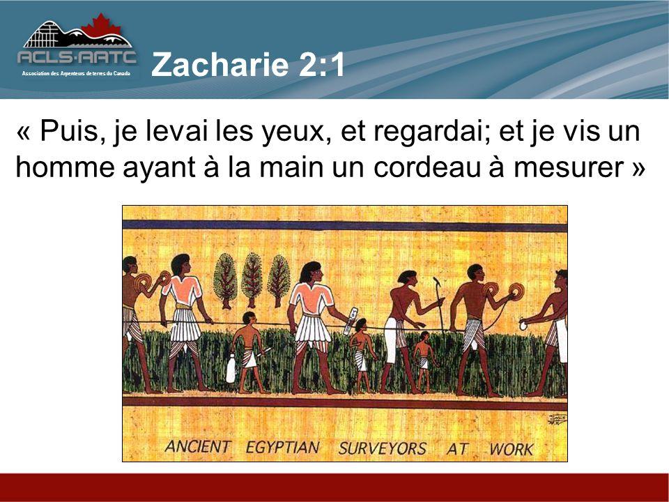 Zacharie 2:1 « Puis, je levai les yeux, et regardai; et je vis un homme ayant à la main un cordeau à mesurer »
