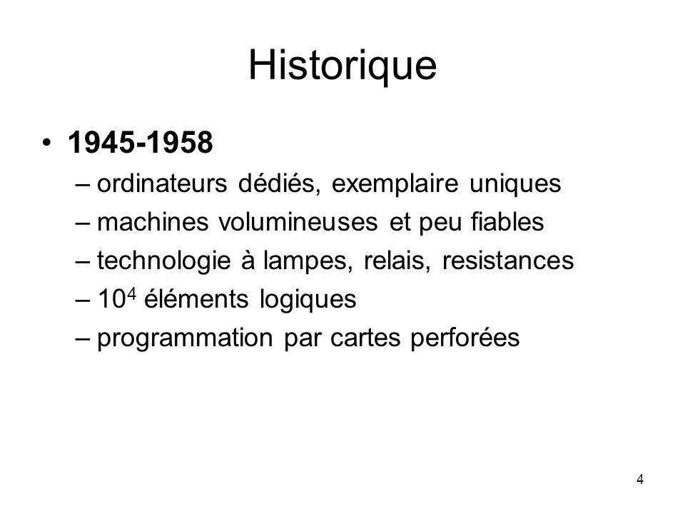Historique 1945-1958 ordinateurs dédiés, exemplaire uniques