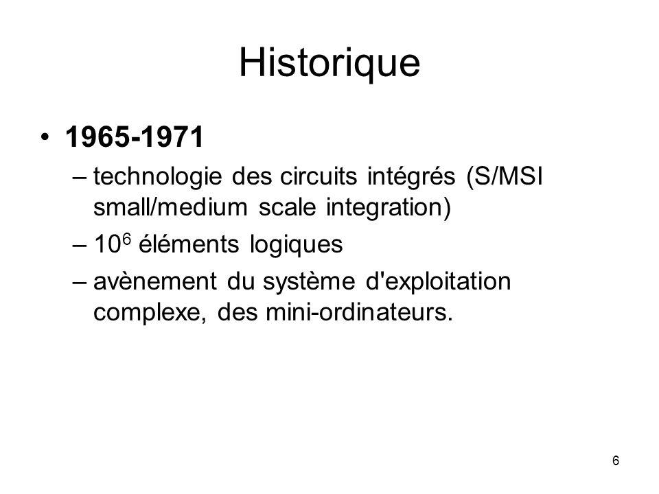 Historique 1965-1971. technologie des circuits intégrés (S/MSI small/medium scale integration) 106 éléments logiques.