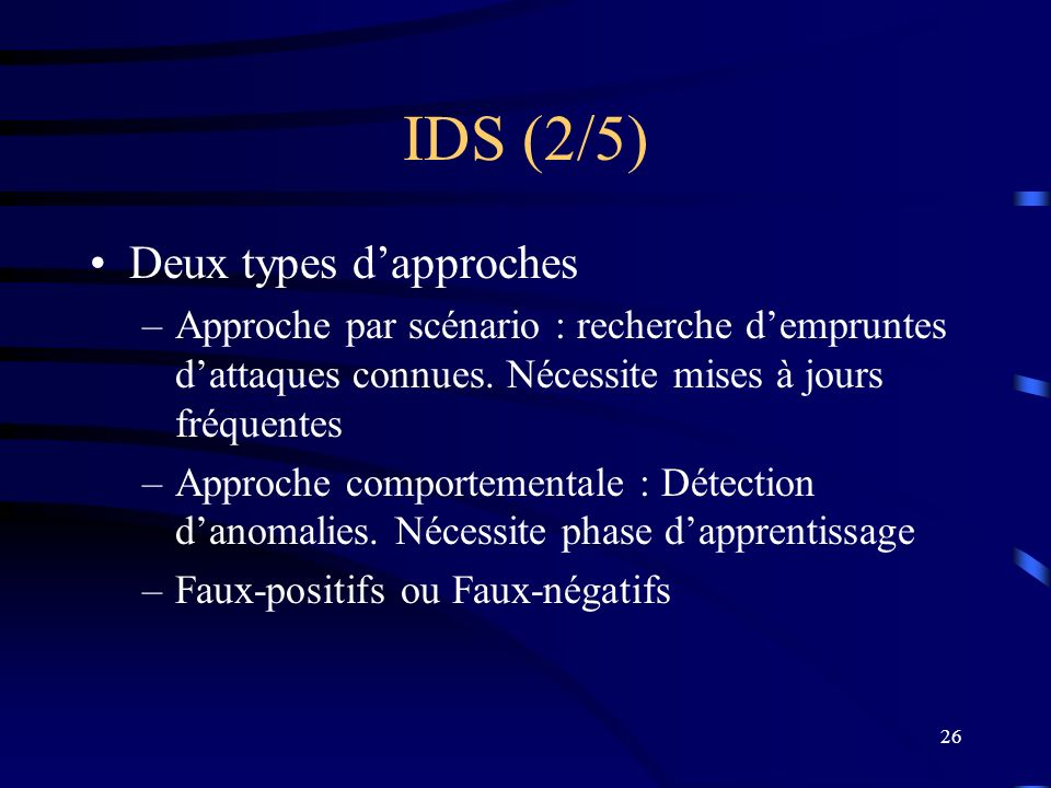 IDS (2/5) Deux types d'approches