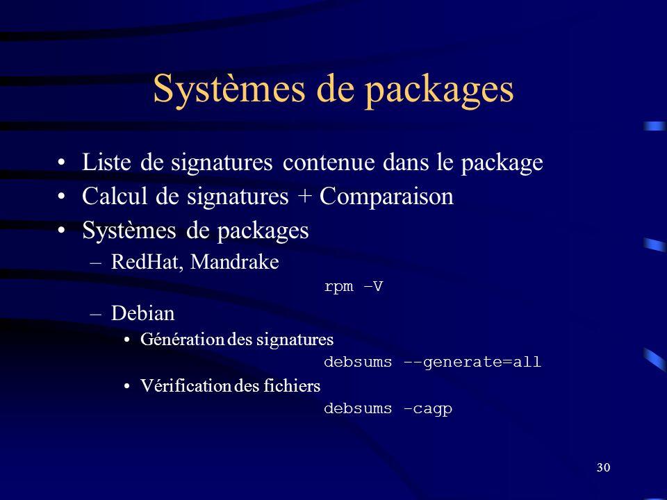 Systèmes de packages Liste de signatures contenue dans le package