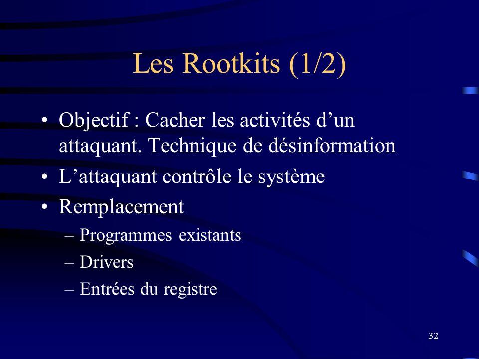 Les Rootkits (1/2) Objectif : Cacher les activités d'un attaquant. Technique de désinformation. L'attaquant contrôle le système.
