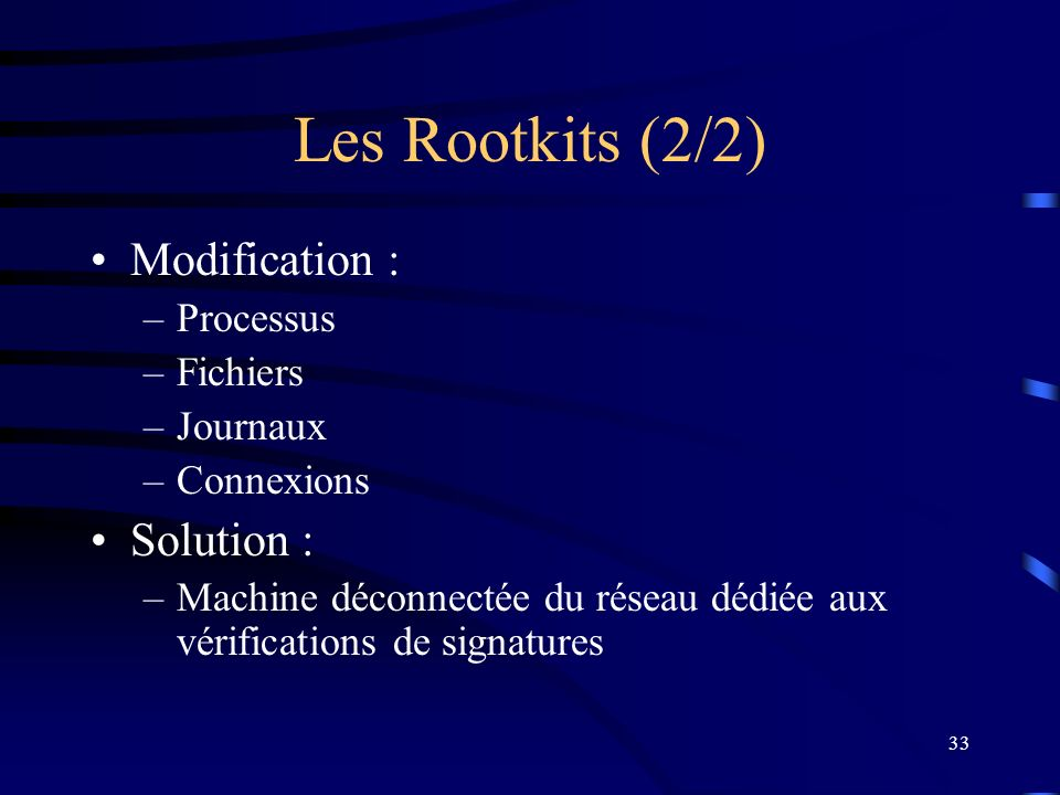 Les Rootkits (2/2) Modification : Solution : Processus Fichiers