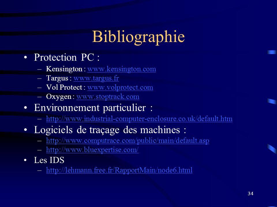 Bibliographie Protection PC : Environnement particulier :