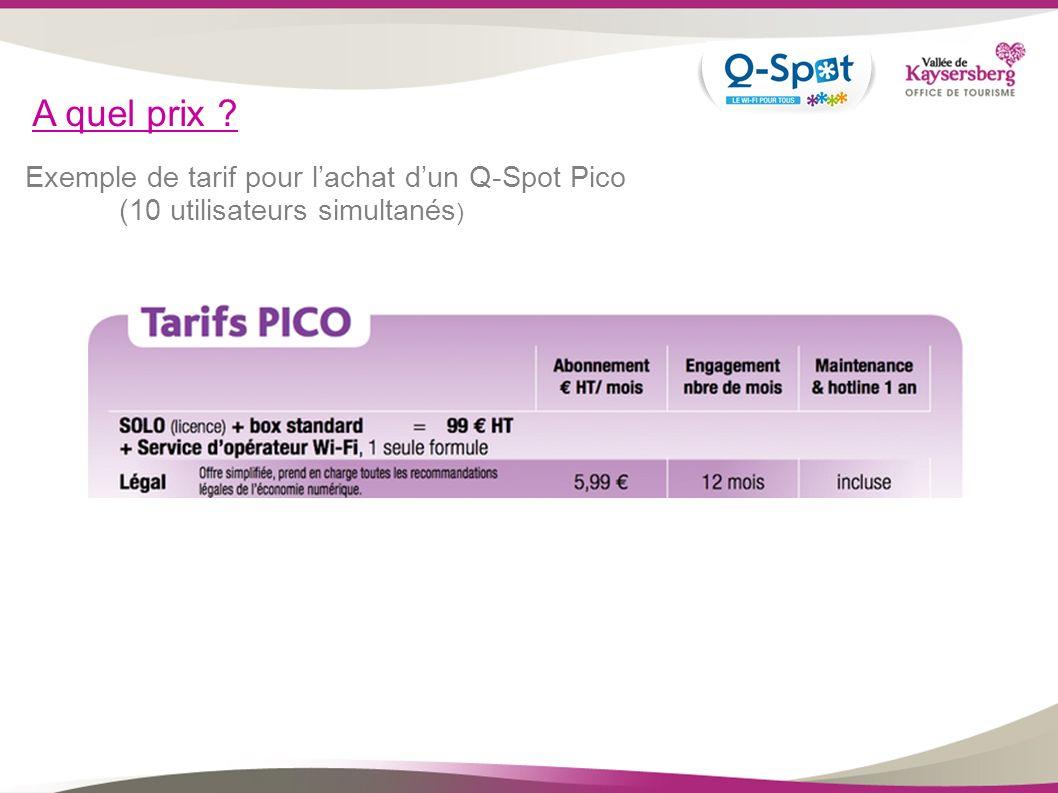 A quel prix Exemple de tarif pour l'achat d'un Q-Spot Pico