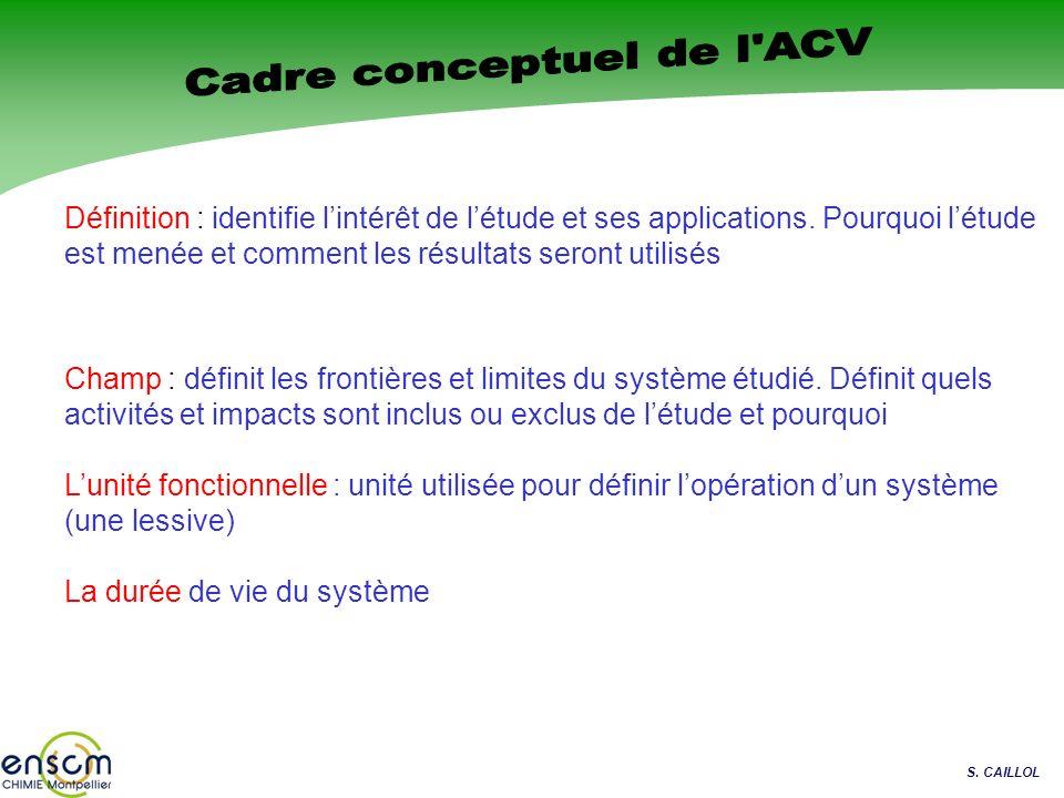 Cadre conceptuel de l ACV