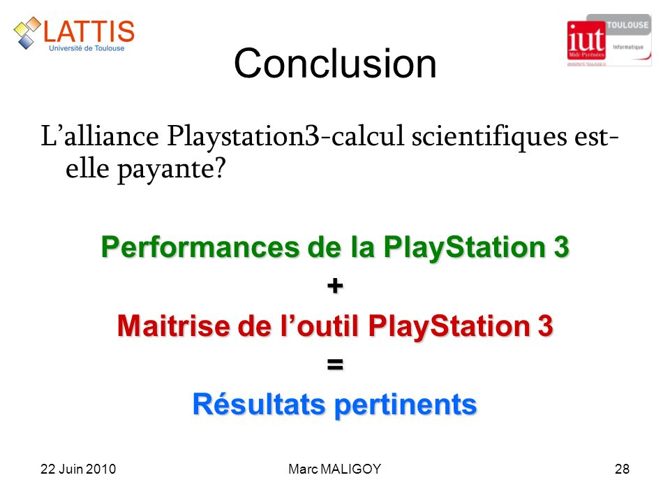 Performances de la PlayStation 3 Maitrise de l'outil PlayStation 3