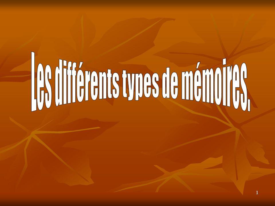 Les différents types de mémoires.