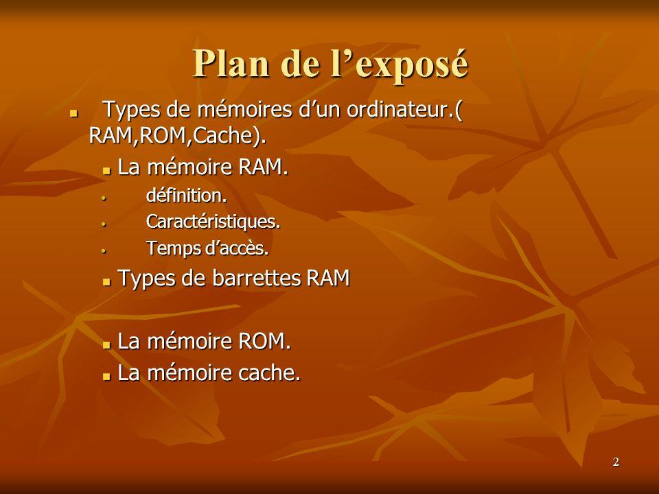 Plan de l'exposé Types de mémoires d'un ordinateur.( RAM,ROM,Cache).