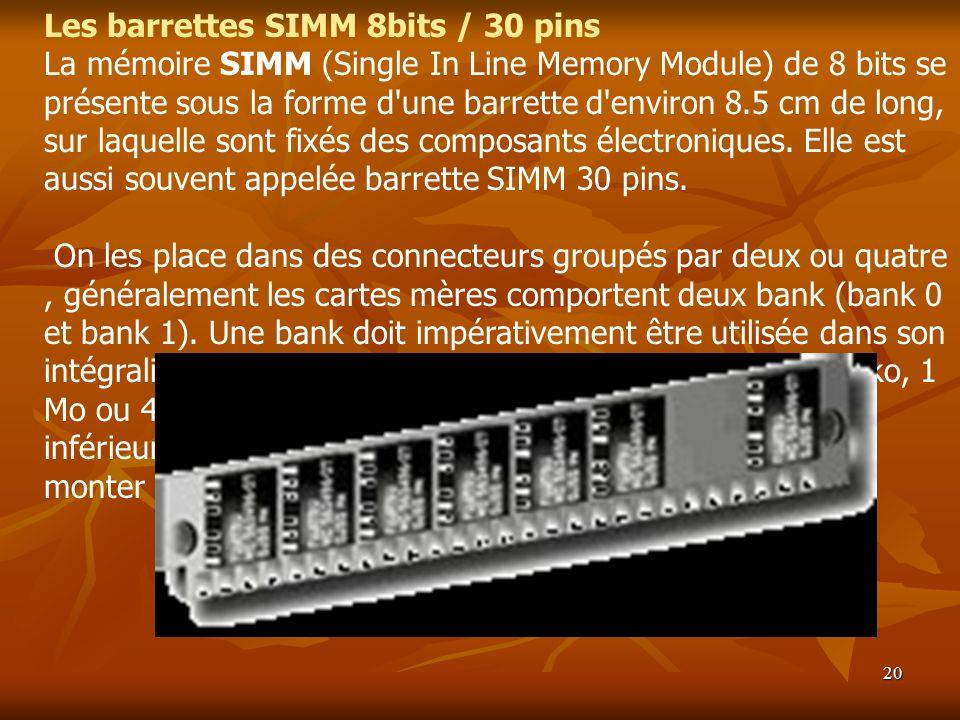 Les barrettes SIMM 8bits / 30 pins