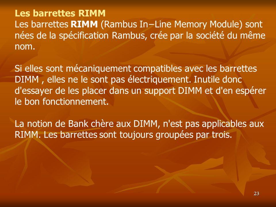 Les barrettes RIMM Les barrettes RIMM (Rambus In−Line Memory Module) sont nées de la spécification Rambus, crée par la société du même nom.