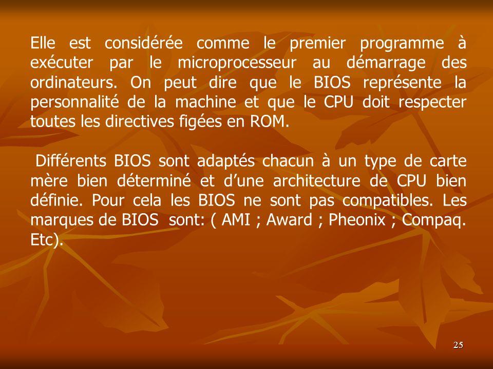 Elle est considérée comme le premier programme à exécuter par le microprocesseur au démarrage des ordinateurs. On peut dire que le BIOS représente la personnalité de la machine et que le CPU doit respecter toutes les directives figées en ROM.