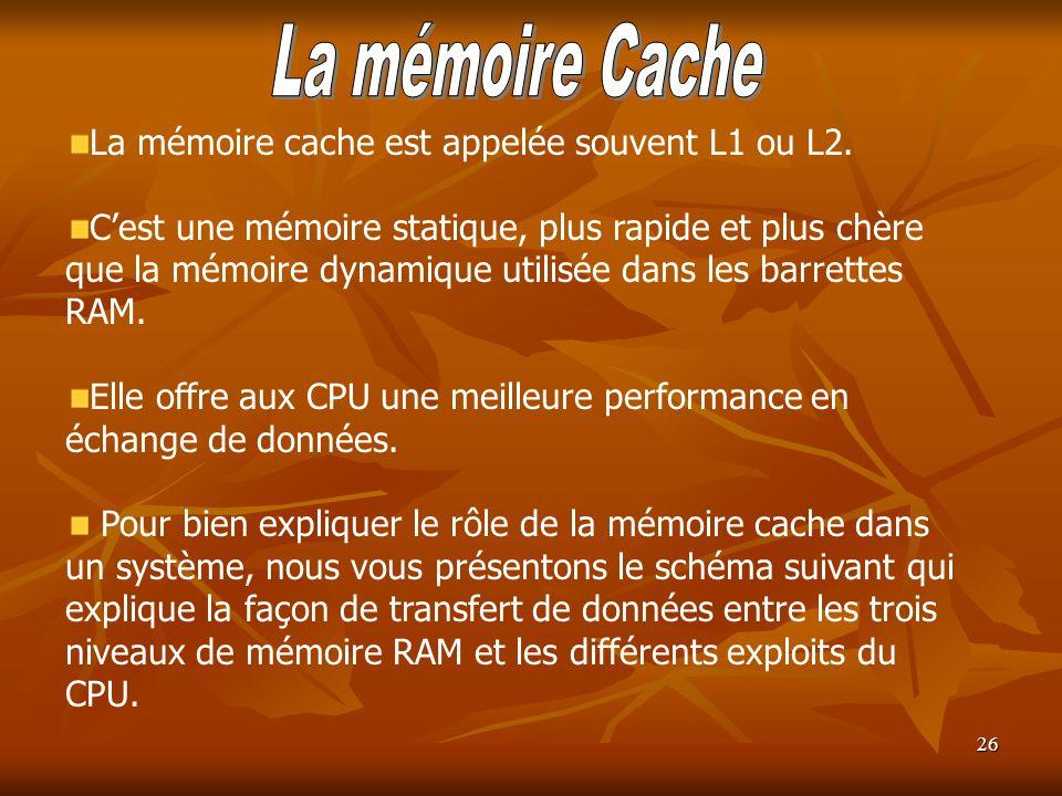 La mémoire Cache La mémoire cache est appelée souvent L1 ou L2.