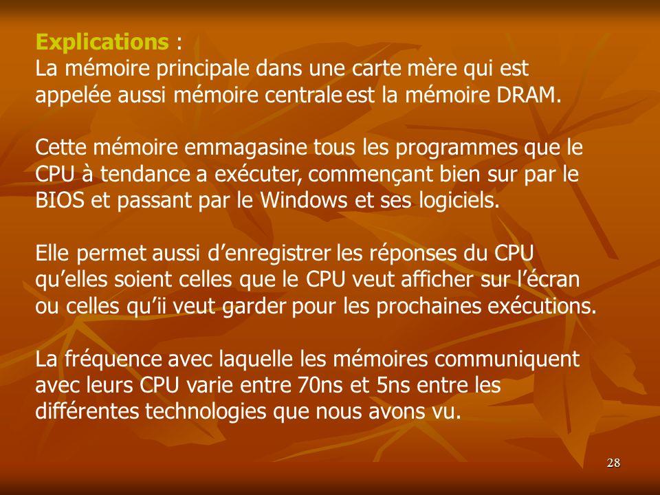Explications : La mémoire principale dans une carte mère qui est appelée aussi mémoire centrale est la mémoire DRAM.
