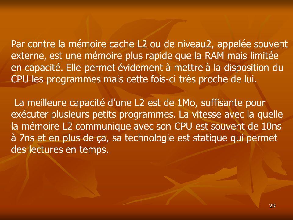 Par contre la mémoire cache L2 ou de niveau2, appelée souvent externe, est une mémoire plus rapide que la RAM mais limitée en capacité. Elle permet évidement à mettre à la disposition du CPU les programmes mais cette fois-ci très proche de lui.