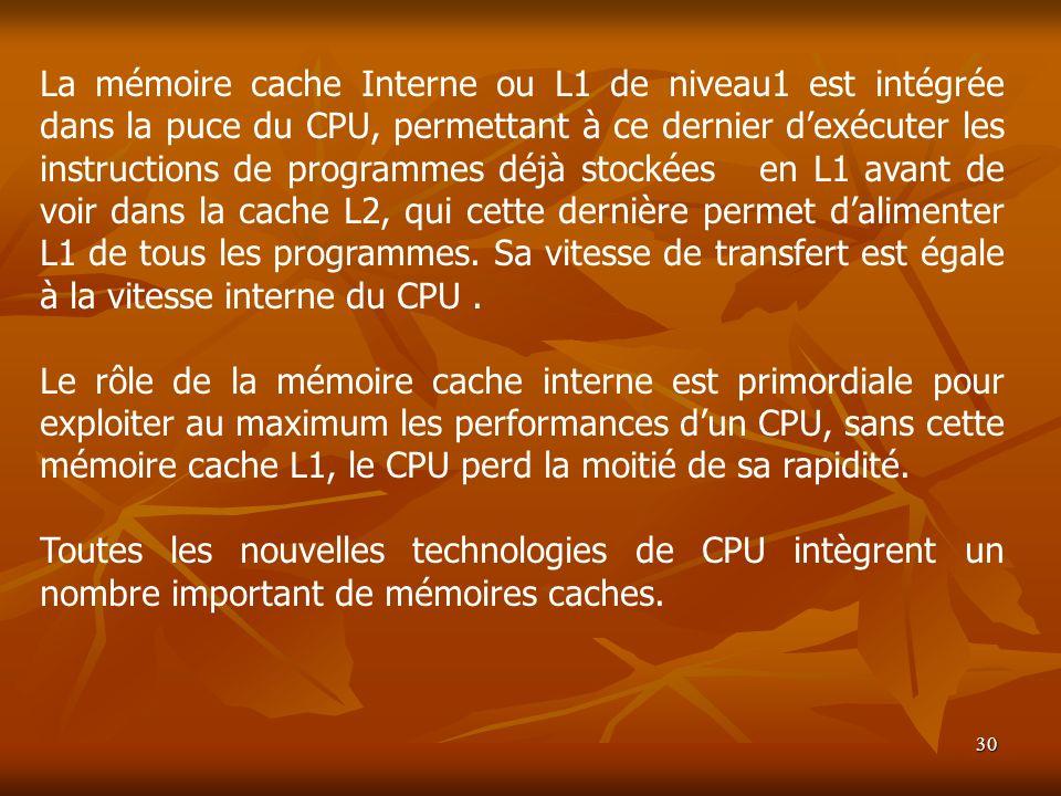 La mémoire cache Interne ou L1 de niveau1 est intégrée dans la puce du CPU, permettant à ce dernier d'exécuter les instructions de programmes déjà stockées en L1 avant de voir dans la cache L2, qui cette dernière permet d'alimenter L1 de tous les programmes. Sa vitesse de transfert est égale à la vitesse interne du CPU .