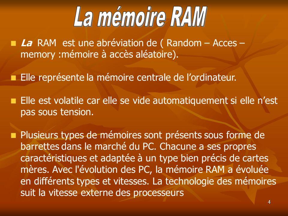 La mémoire RAM La RAM est une abréviation de ( Random – Acces – memory :mémoire à accès aléatoire).