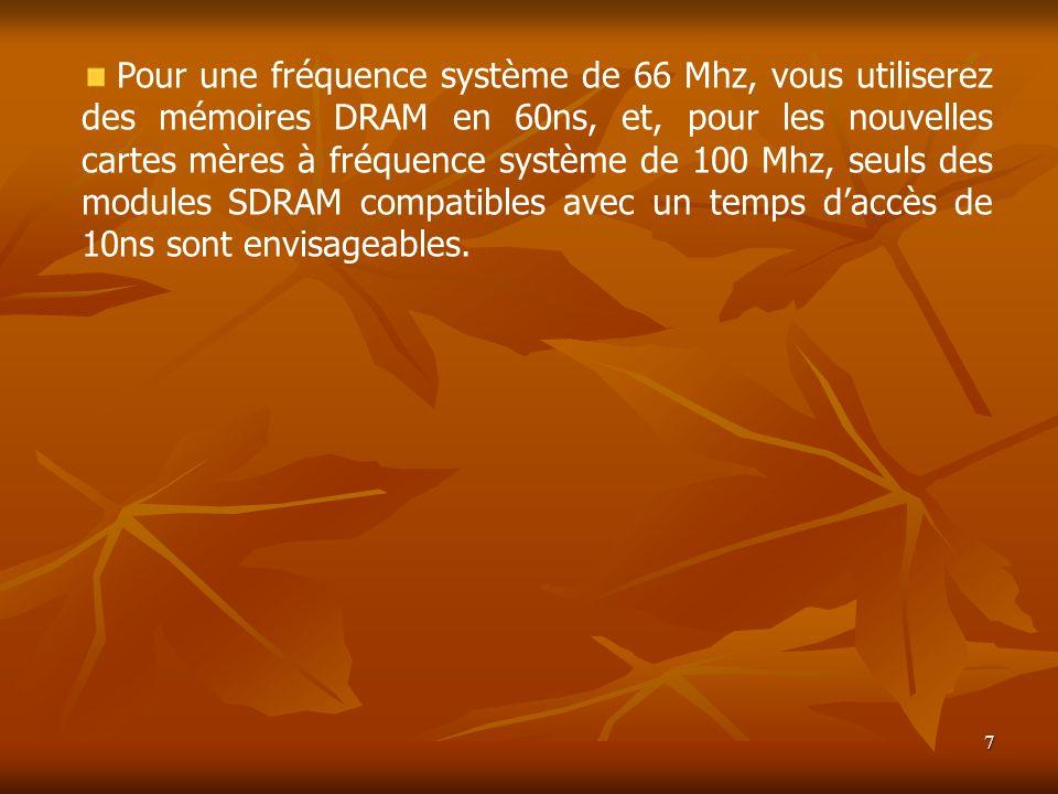 Pour une fréquence système de 66 Mhz, vous utiliserez des mémoires DRAM en 60ns, et, pour les nouvelles cartes mères à fréquence système de 100 Mhz, seuls des modules SDRAM compatibles avec un temps d'accès de 10ns sont envisageables.
