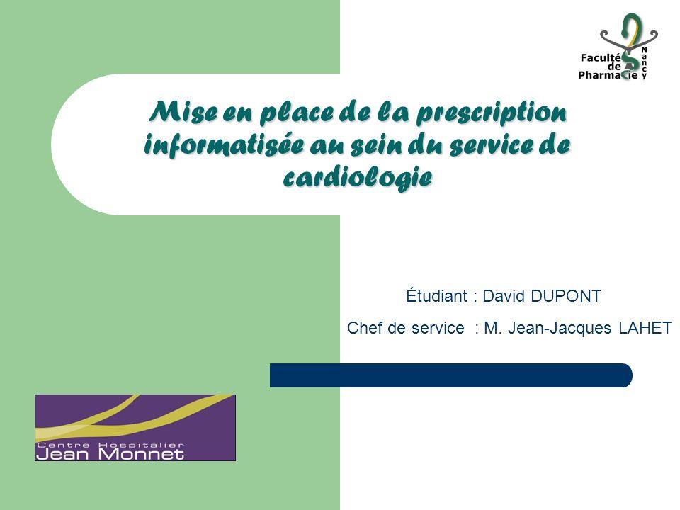 Mise en place de la prescription informatisée au sein du service de cardiologie