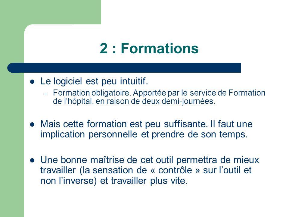 2 : Formations Le logiciel est peu intuitif.