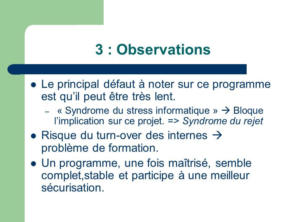 3 : Observations Le principal défaut à noter sur ce programme est qu'il peut être très lent.