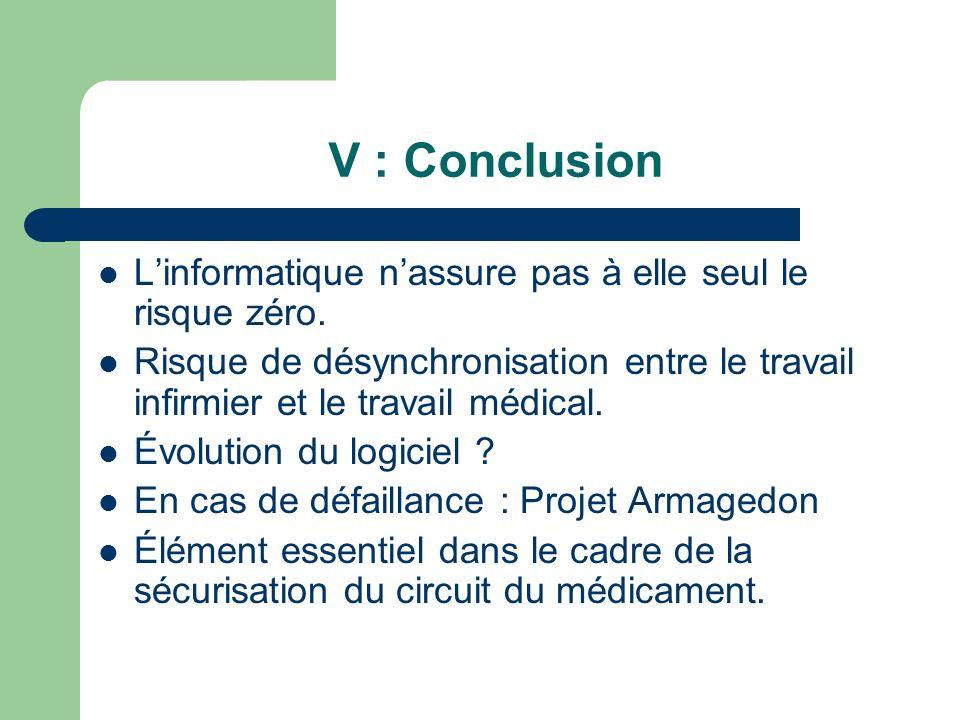 V : Conclusion L'informatique n'assure pas à elle seul le risque zéro.