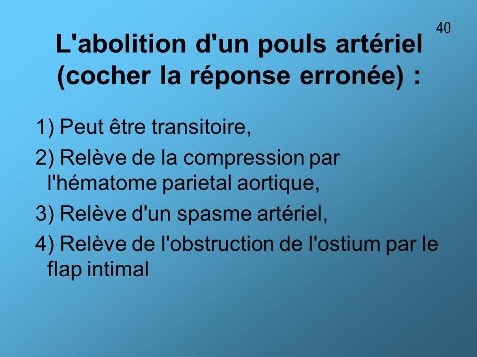 L abolition d un pouls artériel (cocher la réponse erronée) :