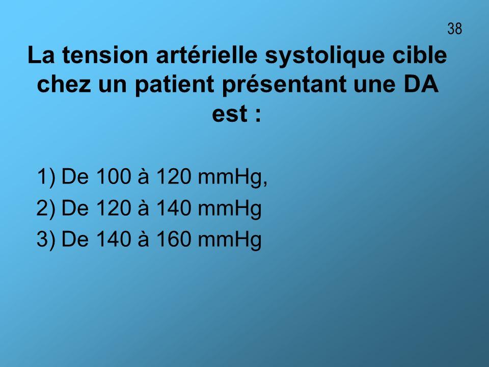 38 La tension artérielle systolique cible chez un patient présentant une DA est : 1) De 100 à 120 mmHg,