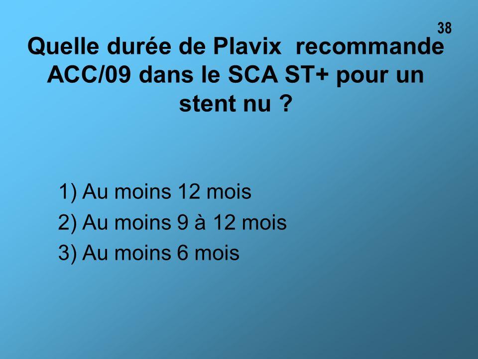 38 Quelle durée de Plavix recommande ACC/09 dans le SCA ST+ pour un stent nu 1) Au moins 12 mois.