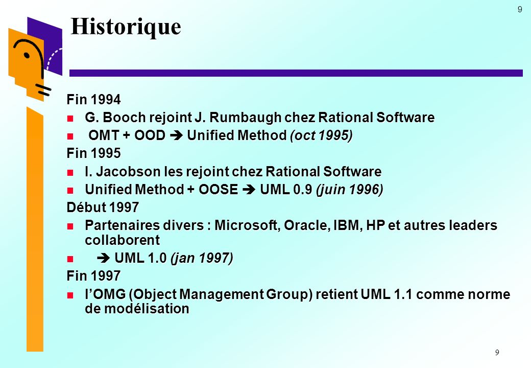 Historique Fin 1994. G. Booch rejoint J. Rumbaugh chez Rational Software. OMT + OOD  Unified Method (oct 1995)