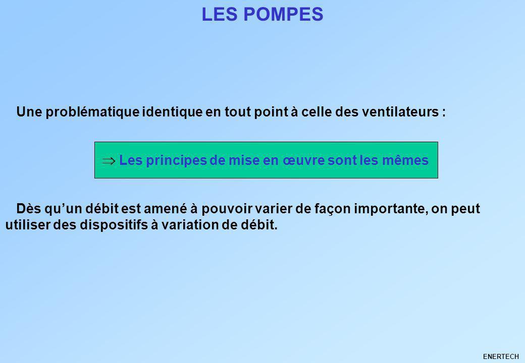 LES POMPES Une problématique identique en tout point à celle des ventilateurs :  Les principes de mise en œuvre sont les mêmes.