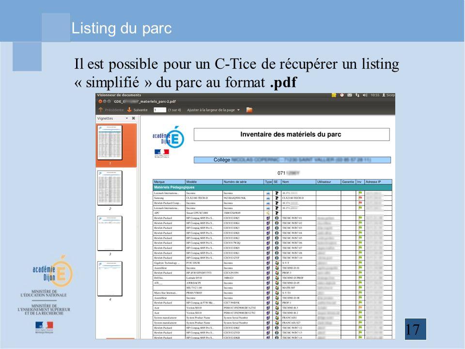 Listing du parc Il est possible pour un C-Tice de récupérer un listing « simplifié » du parc au format .pdf.