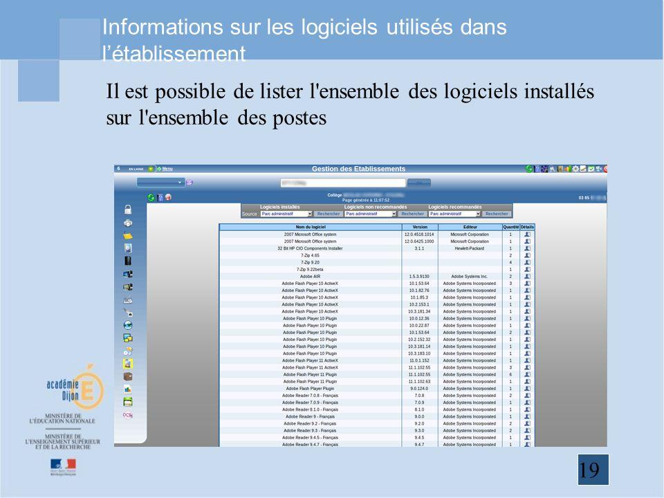 Informations sur les logiciels utilisés dans l'établissement