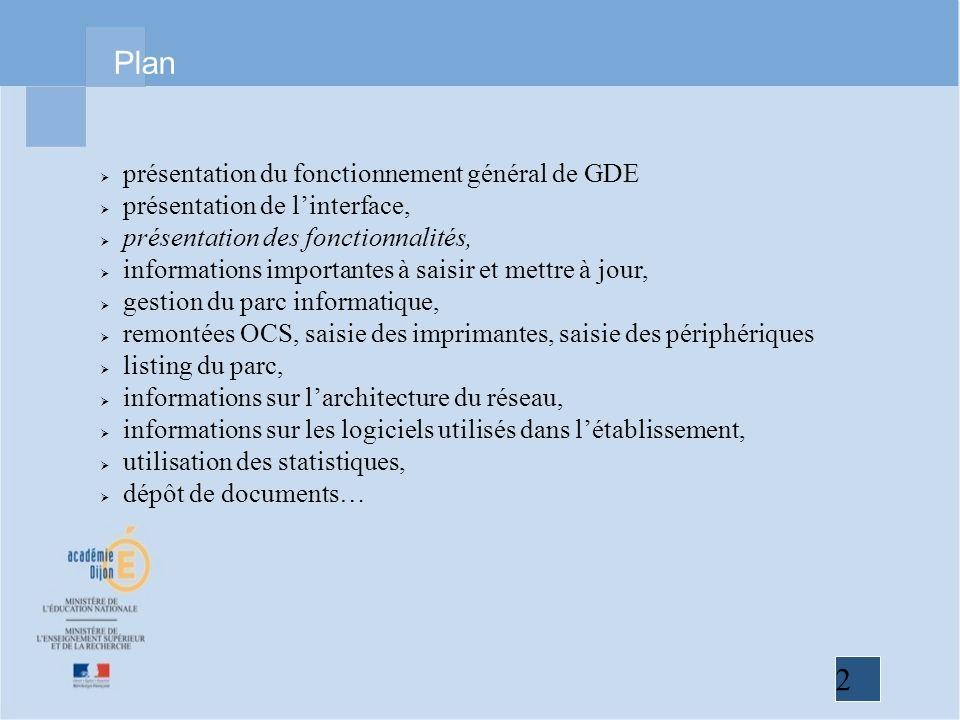 Plan présentation du fonctionnement général de GDE