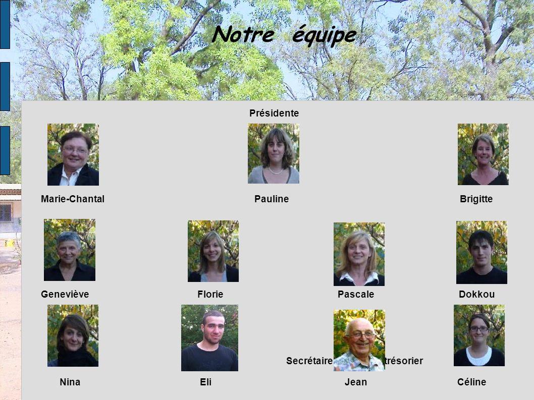 Notre équipe Nina Eli Jean Céline Marie-Chantal Pauline Brigitte