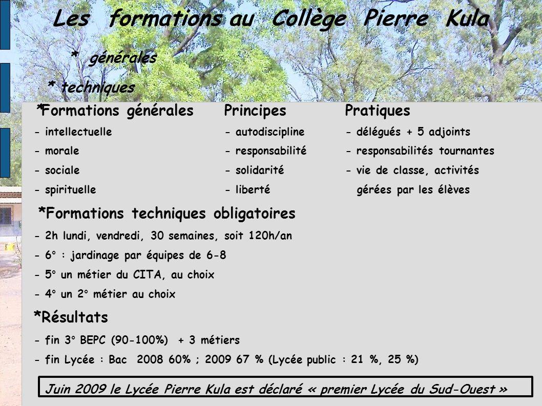Les formations au Collège Pierre Kula * générales