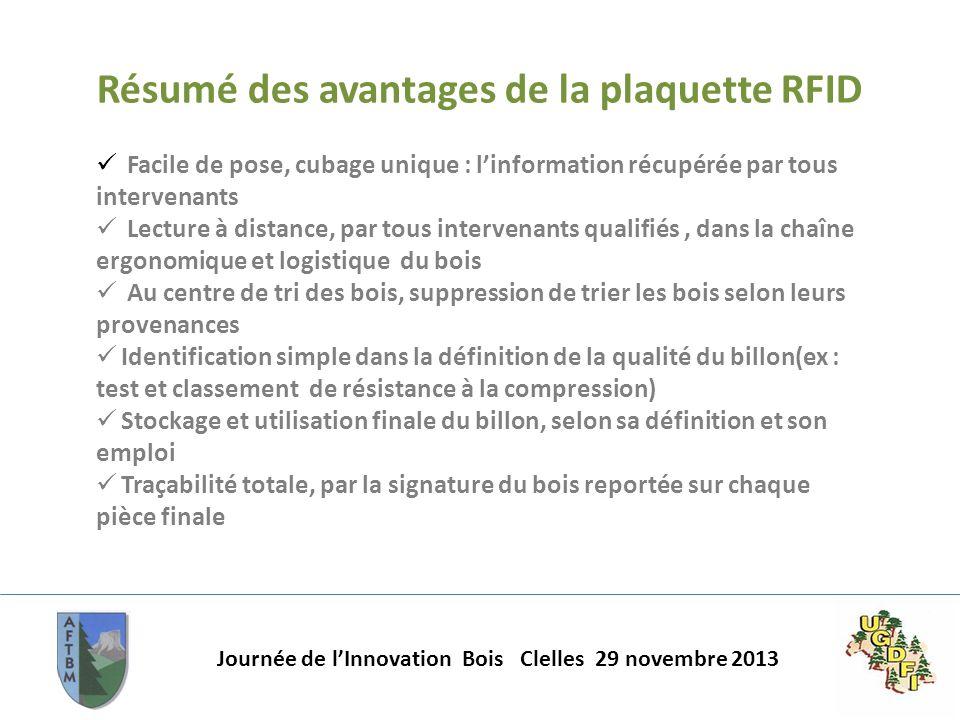 Résumé des avantages de la plaquette RFID