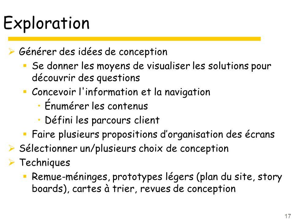 Exploration Générer des idées de conception