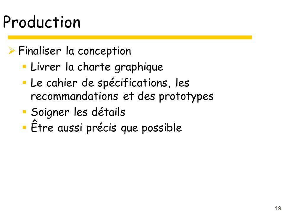 Production Finaliser la conception Livrer la charte graphique