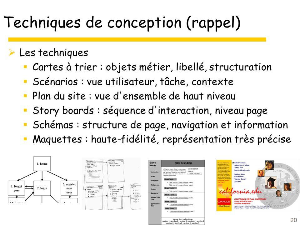 Techniques de conception (rappel)