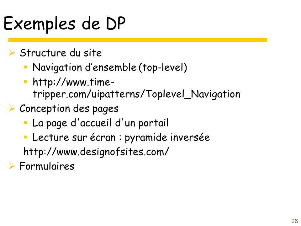 Exemples de DP Structure du site Navigation d'ensemble (top-level)