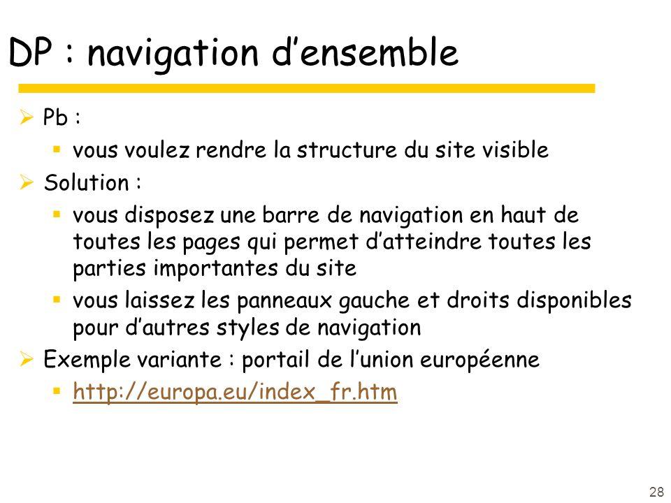 DP : navigation d'ensemble