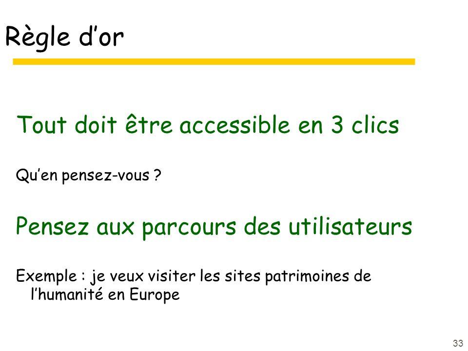 Règle d'or Tout doit être accessible en 3 clics