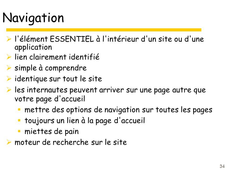 Navigation l élément ESSENTIEL à l intérieur d un site ou d une application. lien clairement identifié.
