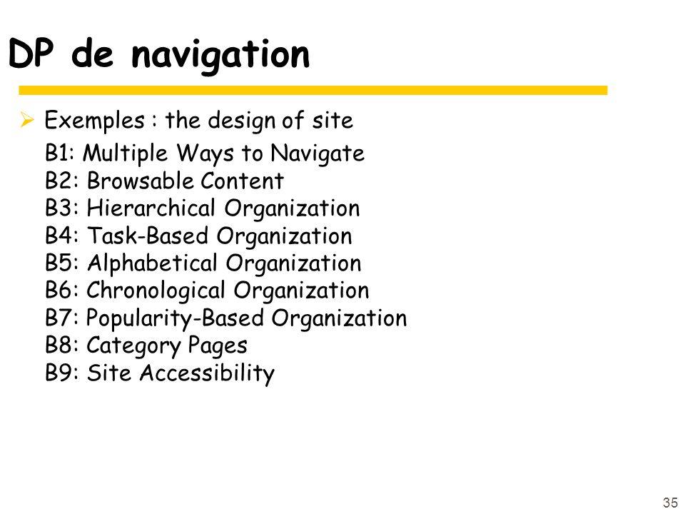 DP de navigation Exemples : the design of site